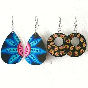 Floral & Abstract Hand Painted Wood Earings